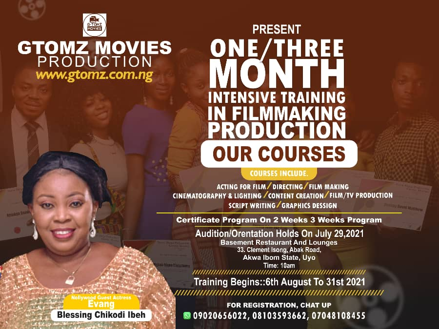 GTOMZ MOVIES ONE MONTH CERTIFICATE FILMMAKING WORKSHOP EMPOWERMENT IN UYORegister Now